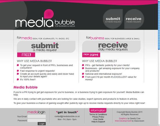 Bespoke website developed for Media Bubble