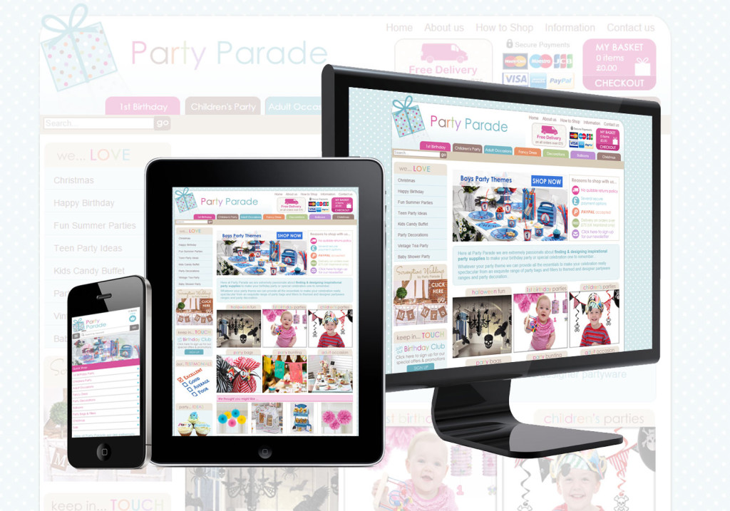 Ecommerce website design Cornwall - Party Parade