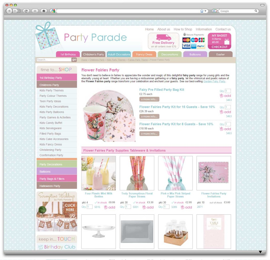 Party Parade Ecommerce Website Category Page