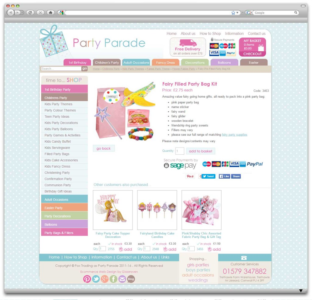 Party Parade Ecommerce Website Product Page