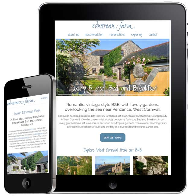 Responsive B&B Website design - Ednovean