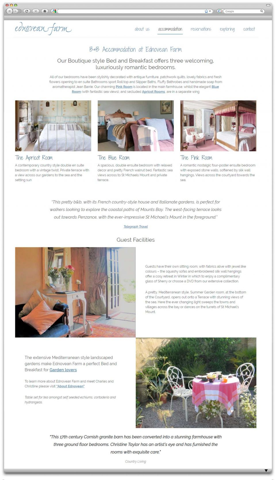 B&B Website Design - Rooms