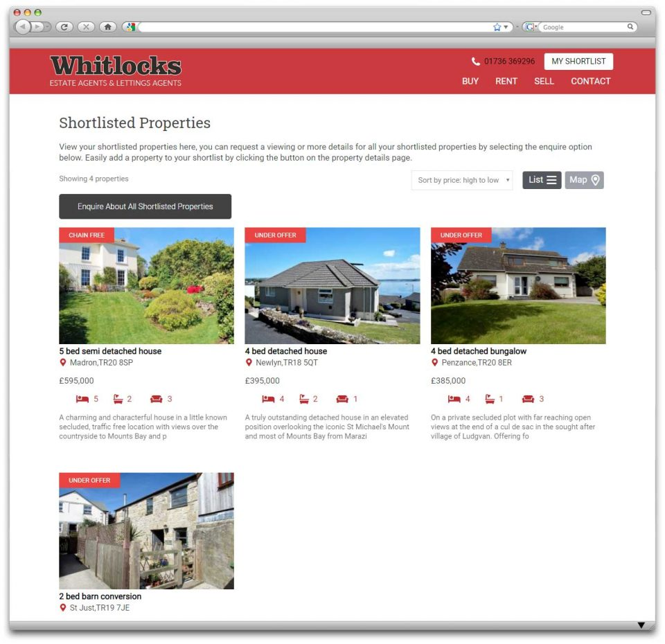 Whitlocks Penzance Property Shortlist