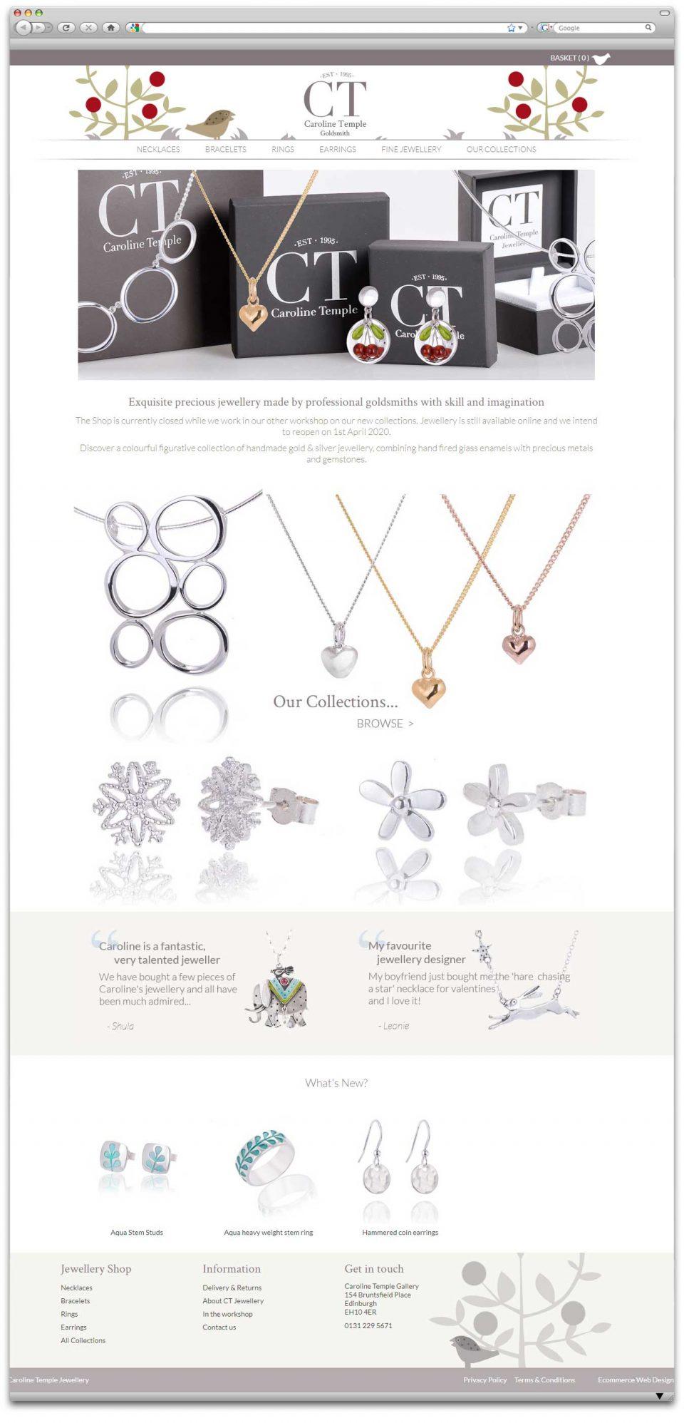 Caroline Temple Goldsmith Ecommerce website design