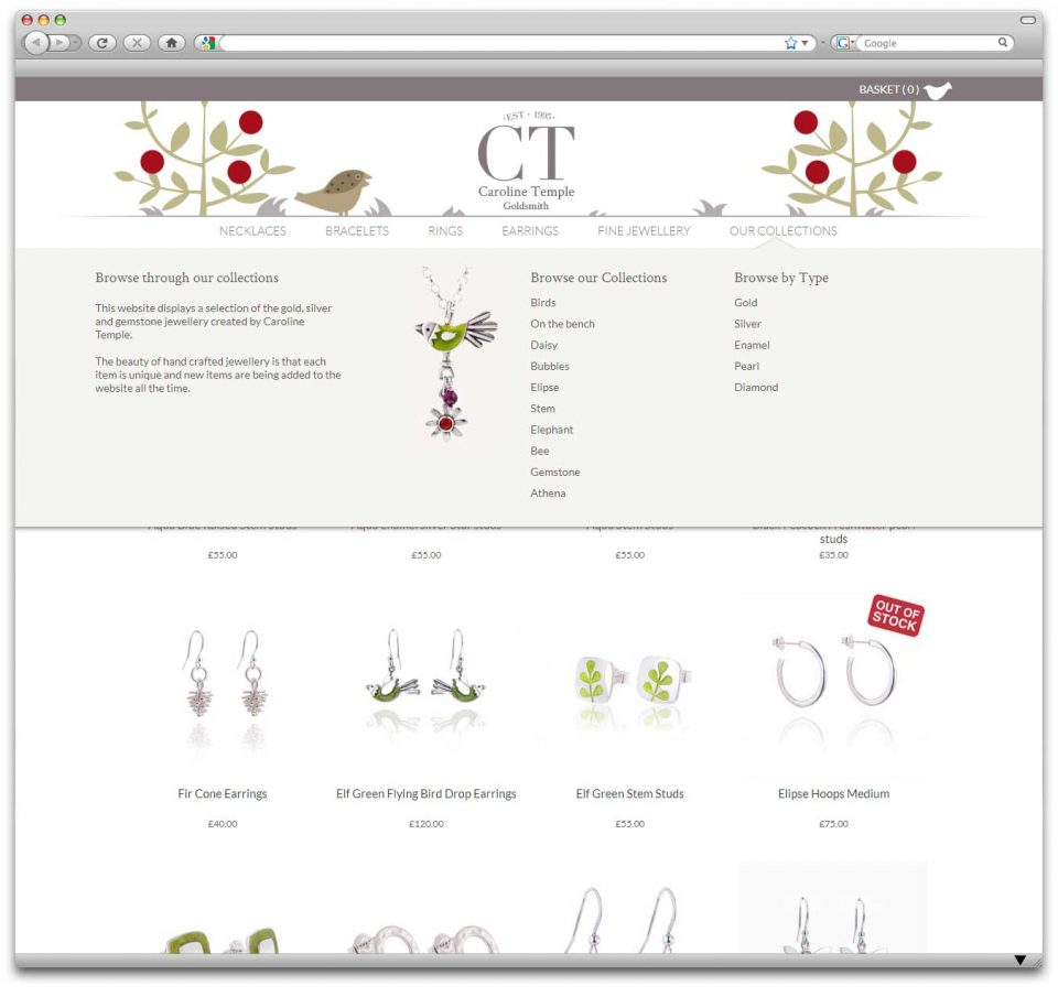 Expanding menu showcasing jewellery on ecommerce website