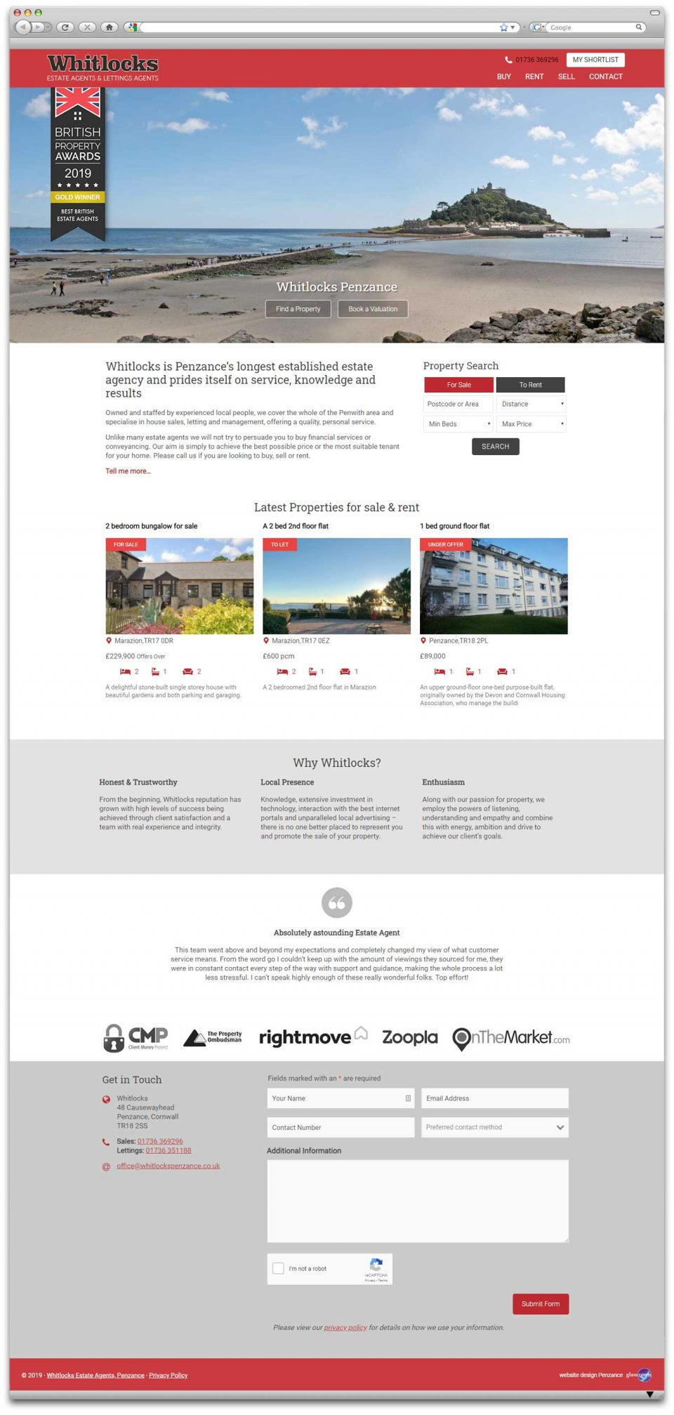 Whitlocks Penzance website design