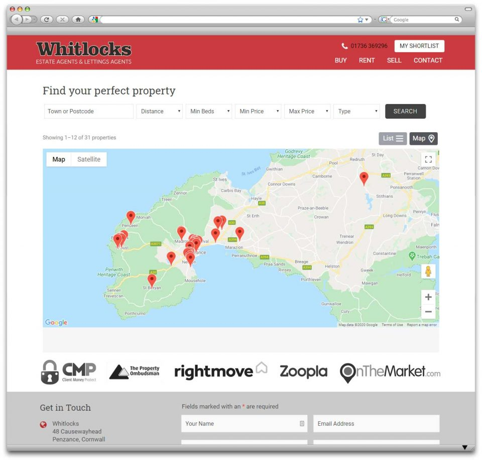 Whitlocks Estate Agents Cornwall website design