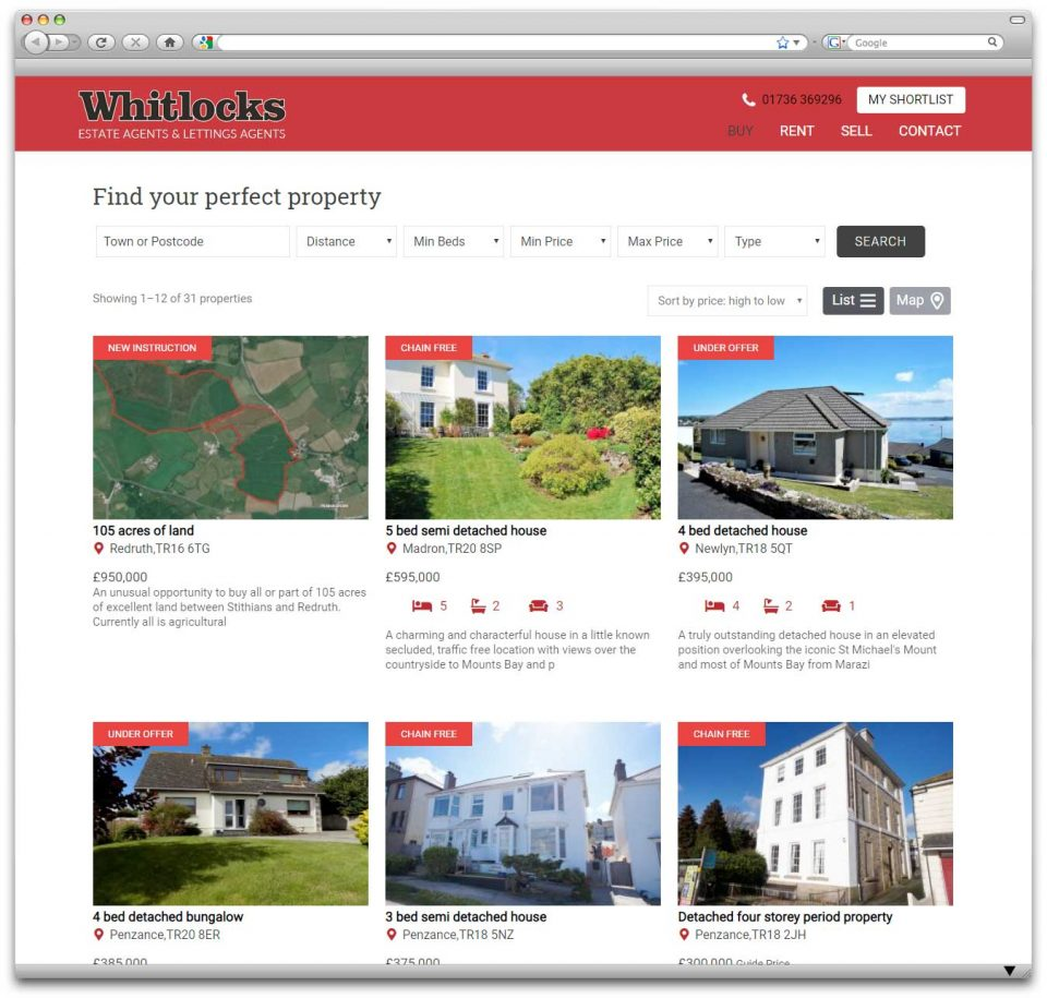 Whitlocks Penzance WordPress Property website